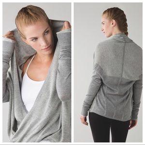 LULULEMON Iconic Sweater Wrap Grey White Stripes